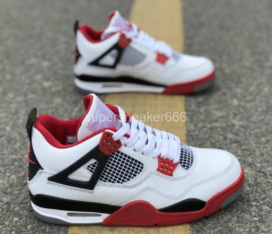 Hot Sale de J4 Chaussures hommes de basket-ball hommes gris ciment pur argent Premium Black militaire coloré élevé Oreo feu rouge sneaker le sport 7-13 a9