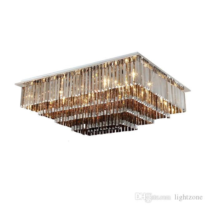 Dimmable rectangular crystal ceiling chandelier lighting modern smoky gray chandeliers lights living room bedroom flush mount led lamps