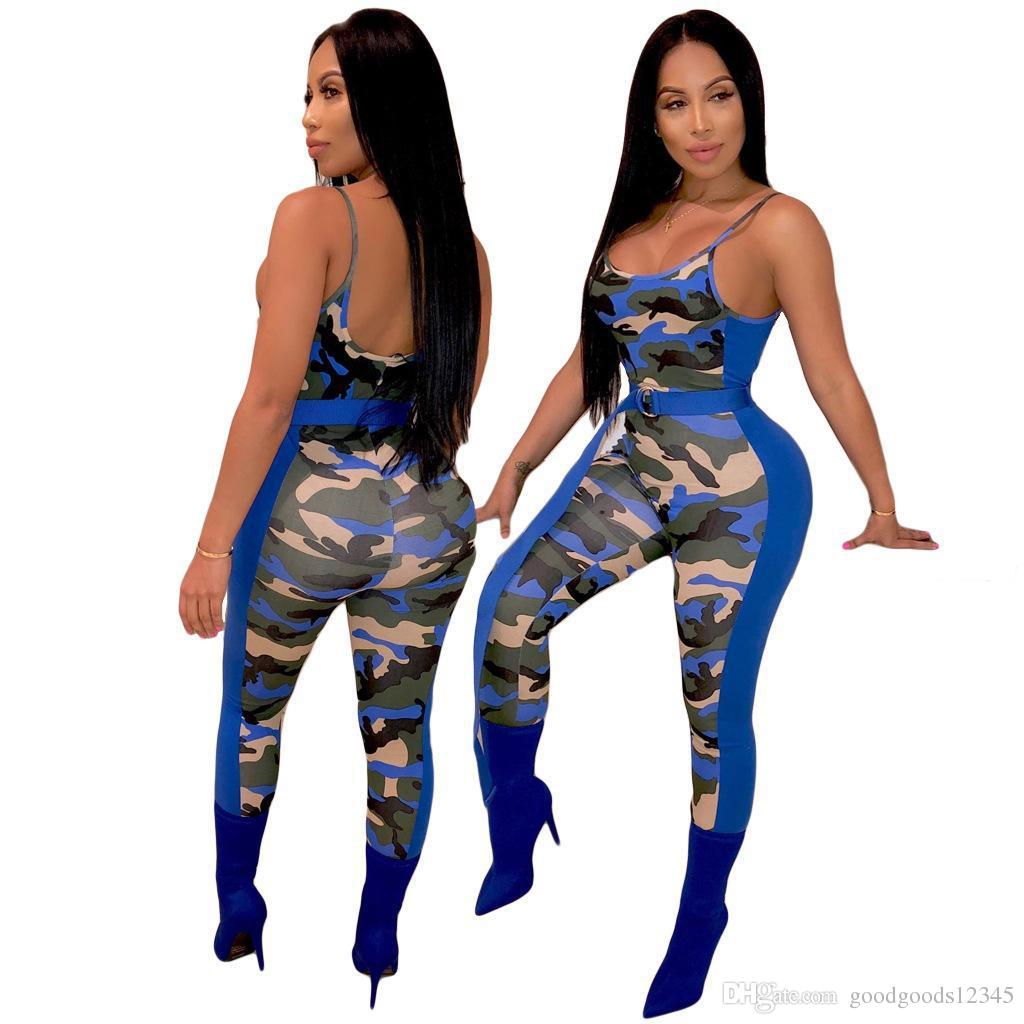 Fashion Sexy Suspenders Rompers Camouflage Skinny Women Jumpsuit Sleeveless High Waist O Neck 2019 Summer Street Party Outfits