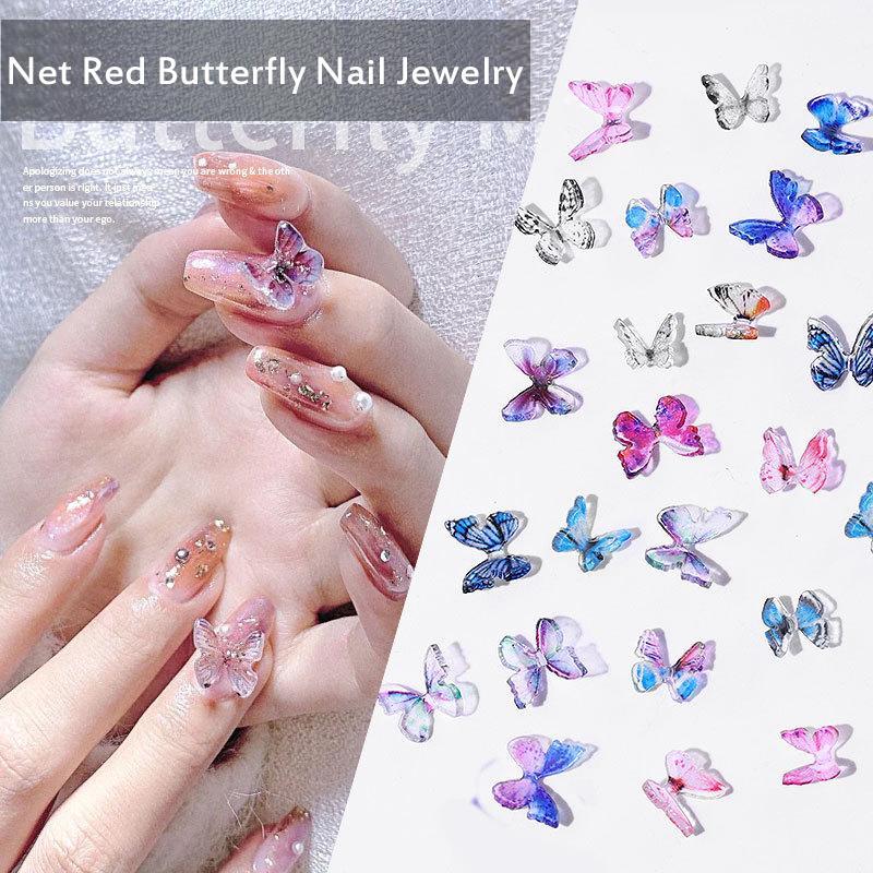 2 шт / комплект смолы бабочки Nail Art Decoration Ручная стерео мини Manicure Бабочка 2020 Горячие Продажа