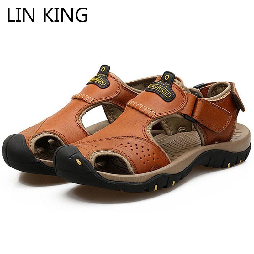 LIN KING New Design Big Size Soft Sole Men Sandals Comfotrable Summer Leather Sandals Breathable Non Slip Outdoor Shoes For Male