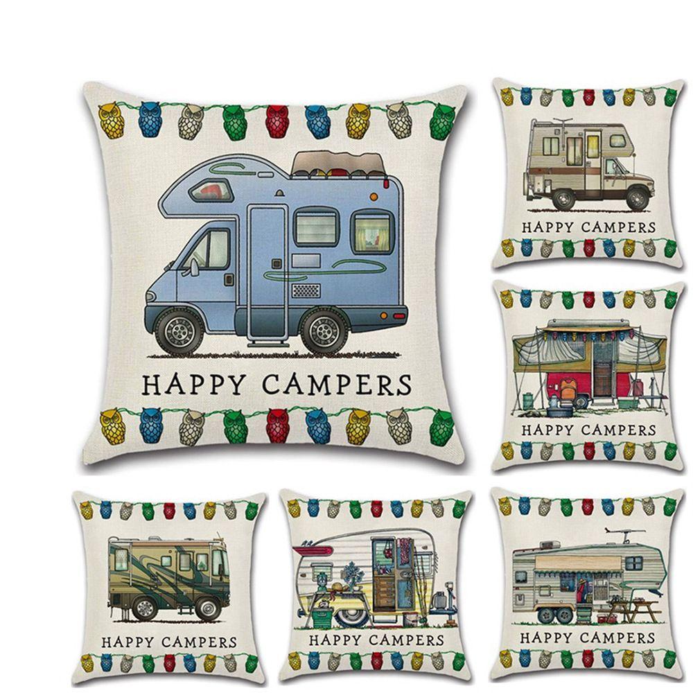 Счастливый Campers Наволочка 45 * 45см кузовной наволочка Бросьте белье Подушка Обложка Главных Кафе Офис Декор подарки GGA3233-1