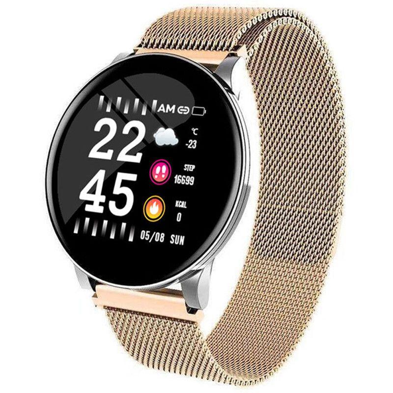 Inteligente relojes inteligentes reloj W8 impermeable presión arterial Hombres Mujeres Heart Rate Control de actividad podómetro aptitud del deporte de la correa de acero inoxidable