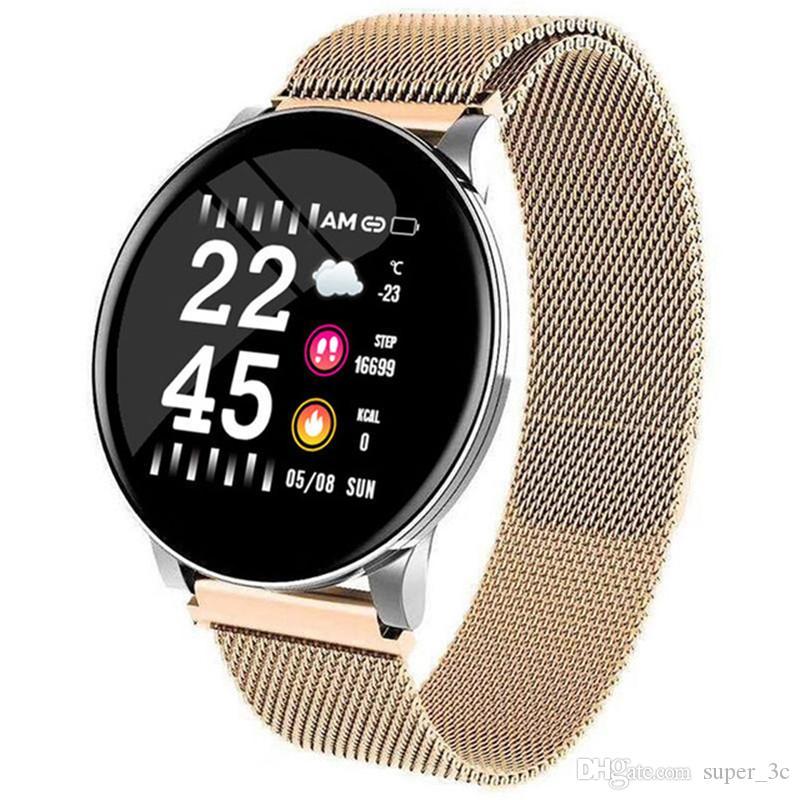 W8 Smart Watch Waterproof Men Women Blood Pressure Heart Rate Activity Tracker Pedometer Sport Fitness Smart Watches Stainless Steel Strap