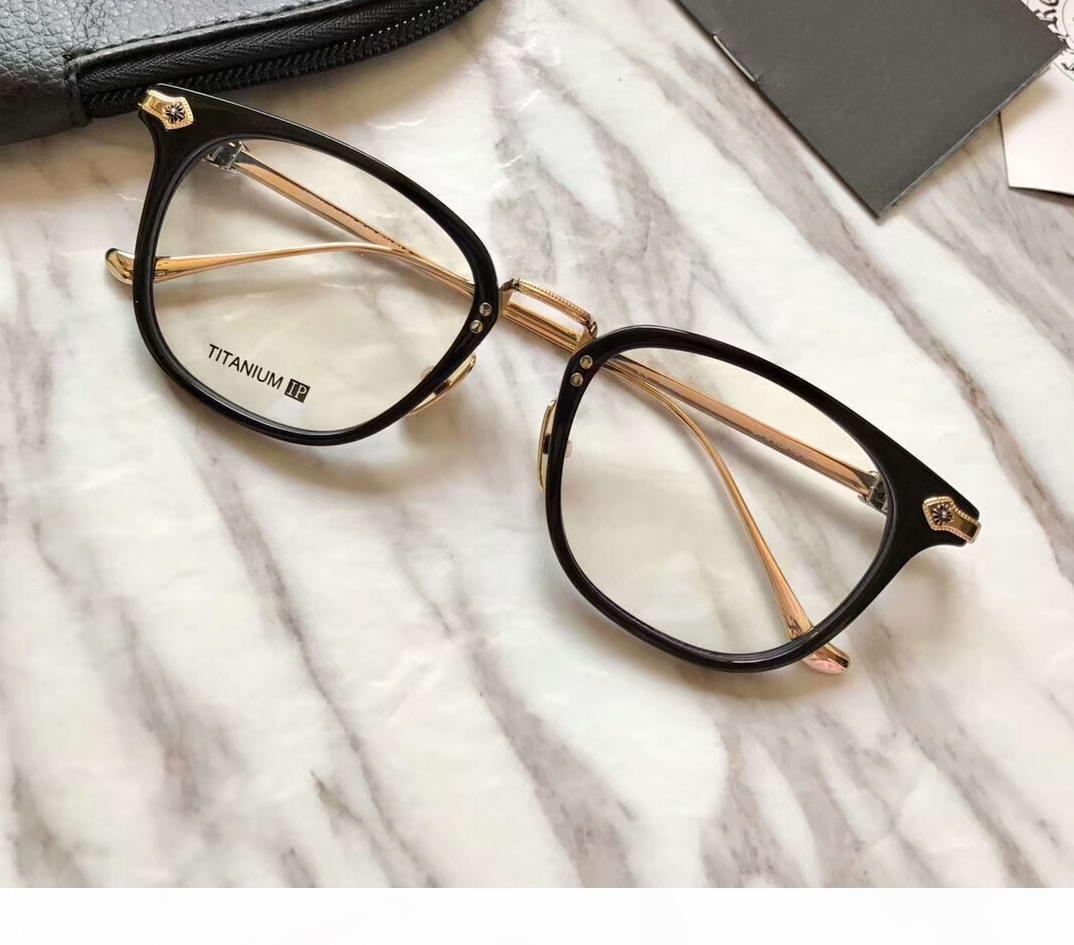 Men Black Gold Eyewear ottico degli occhiali di moda degli occhiali Piazza Glasse Eyewear nuovo con la scatola