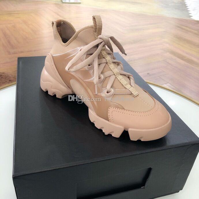 Designer Shoes Vintage Femmes Chaussures D-Connect Sneaker en cuir rose de luxe en plein air d'hiver Étoile Chaussures mode casual chaussures plateforme