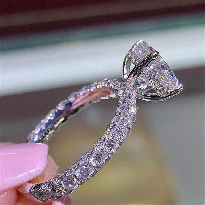 Rulalei Brand New Высокое качество Роскошные ювелирные изделия 925 SilverRose золото Наполните белый топаз CZ Алмазный Бриллиантовые обручальное кольцо подарков