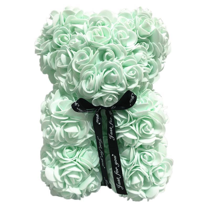1pc 25cm Plus Doll Toys White Foam Bear Mold Artificial Flower Head Rose Teddy Toys for Baby Girls