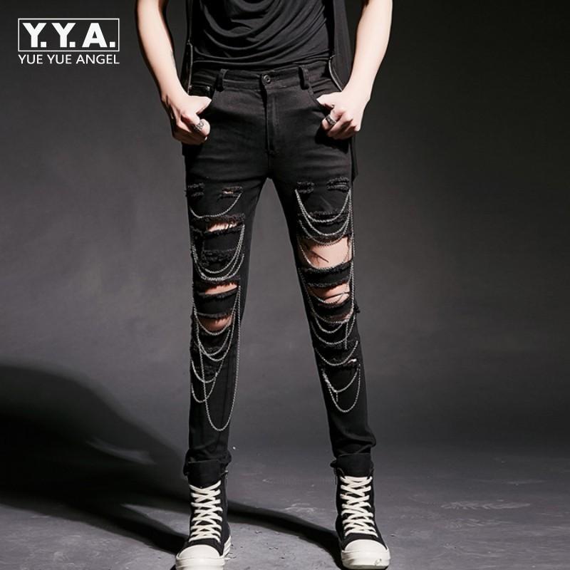 Nuova Moda Uomo punk Foro strappato pantaloni coreana misura sottile matita pantaloni casual da uomo Catene Hip Hop Street Dance M-2XL