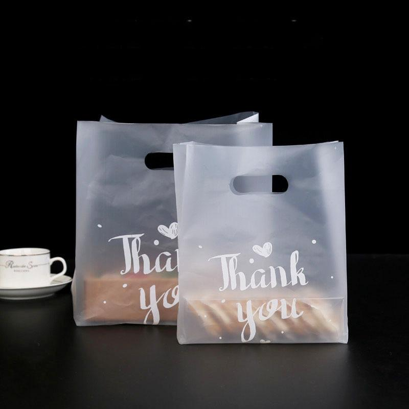 50pcs Merci Pain En Plastique Bonbons Biscuits Cadeau Sac De Noce Faveur Transparent À Emporter Emballage Alimentaire Shopping Sacs Q190603