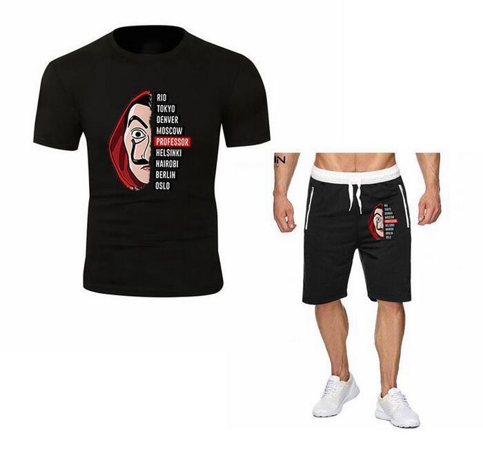 2PCS Mode Hommes Argent Heist TVT drôle Drame flash Sweatshirt Définit t-shirt + short hommes la casa de papel T-shirt en coton SHORTS