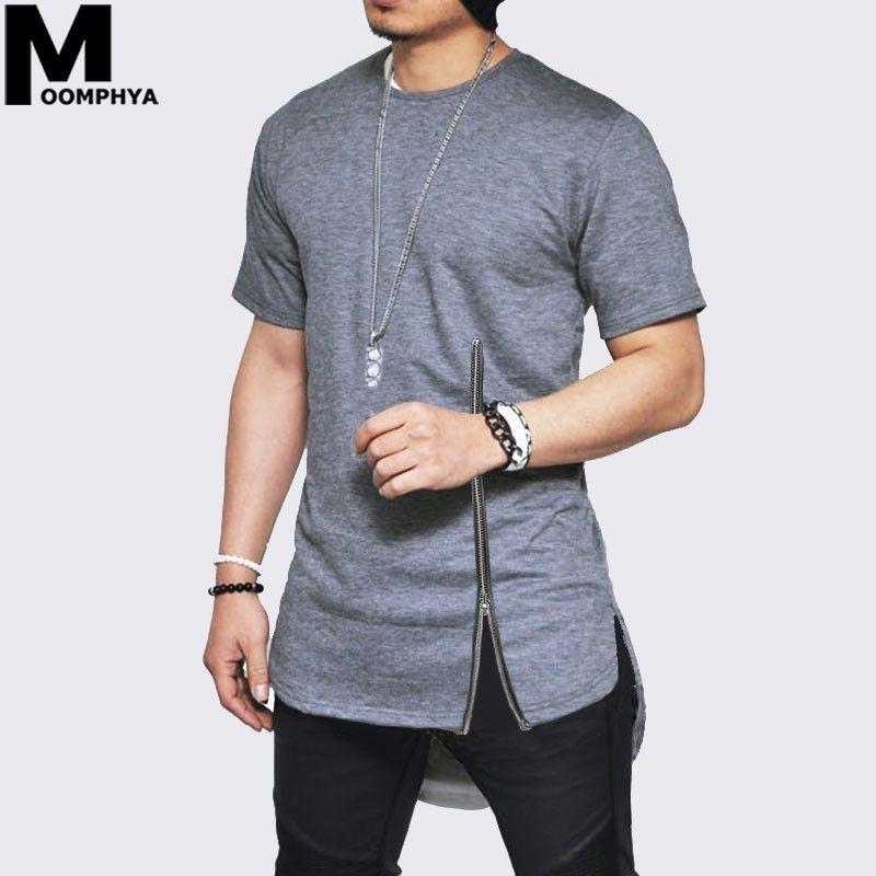 Moomphya 2019 New Zipper short sleeve men t shirt Streetwear side slit t-shirt for men Longline curve hem hip hop funny tshirt Y200104