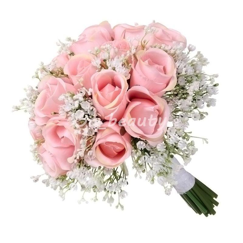 분홍색 로즈 신부 계단식 꽃다발 결혼식 부케 신부 소녀 꽃 여름 작풍 가정 당 훈장 가짜 테이블 꽃
