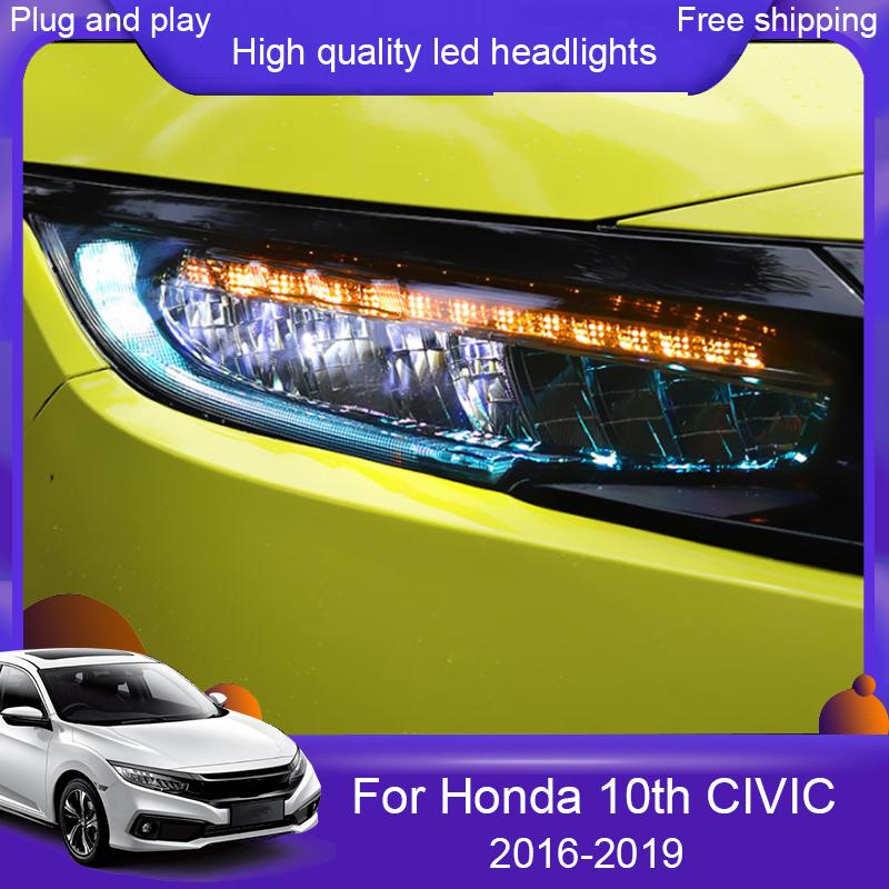 Car styling HeadLamp for Honda Civic 10th 16-19 Full LED headlights With Yellow moving turn light head lamp LED DRL front light