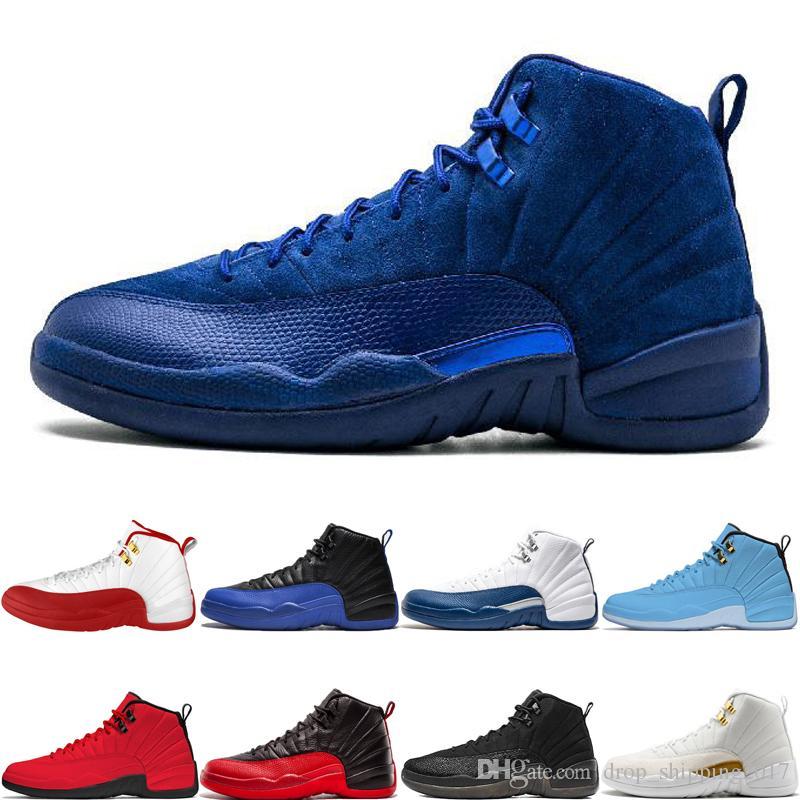 De primera calidad 12 12s zapatos de baloncesto del hombre profundo azul real FIBA Juego Roya Bullsl Juego de la gripe francés azul O-Negro para hombre de las zapatillas de deporte Deporte