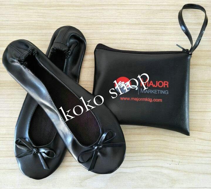 Heißer Verkauf! Großhandel neue Dame faltbare Ballettschuhe Falten Ballerina flache Schuhe mit passender Tragetasche