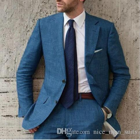 2019 Latest Coat Pants Designs Linen Men Suit Slim Fit Elegant Tuxedos Wedding Business Party Dress Jacket and Pants