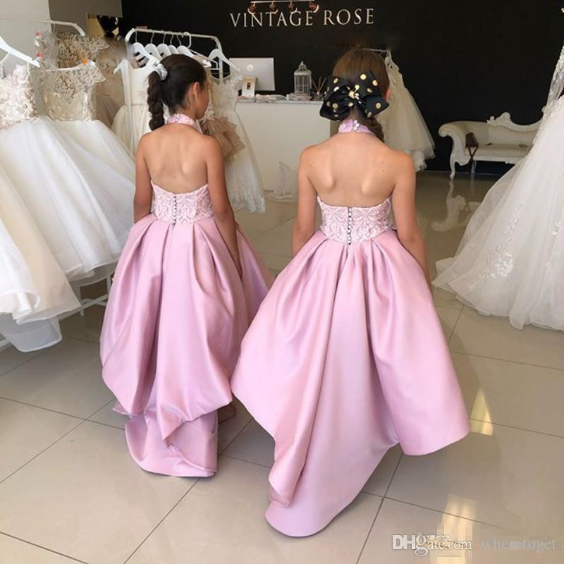 Pink Halter Flower Girl Dresses Lace Backless Satin Princess Kids Toddlers Dress For Wedding Evening Party Gowns Tea Length Robes De Fête