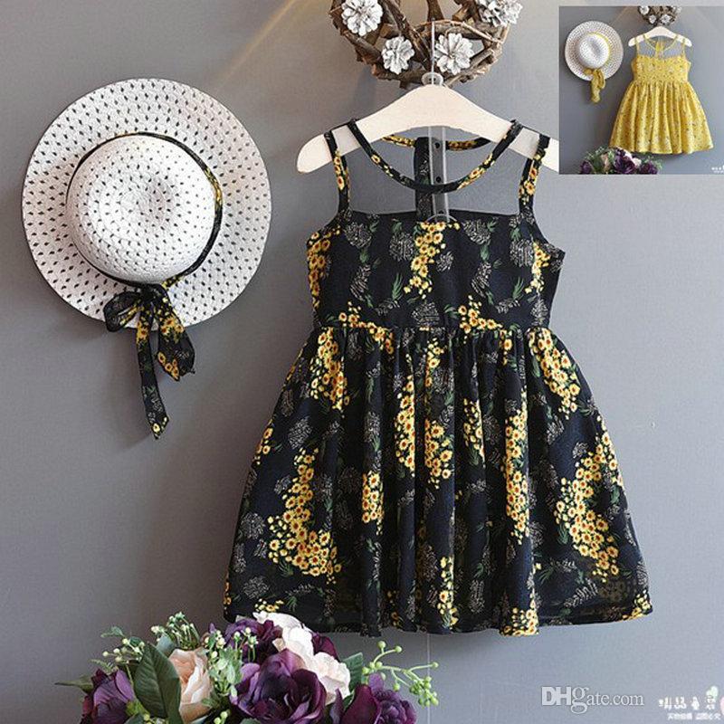 Vestidos de la niña de vestido bordado de flores sin mangas de algodón floral de los niños ropa de niña con la ropa de verano casa sombrero 2 Color XD21789