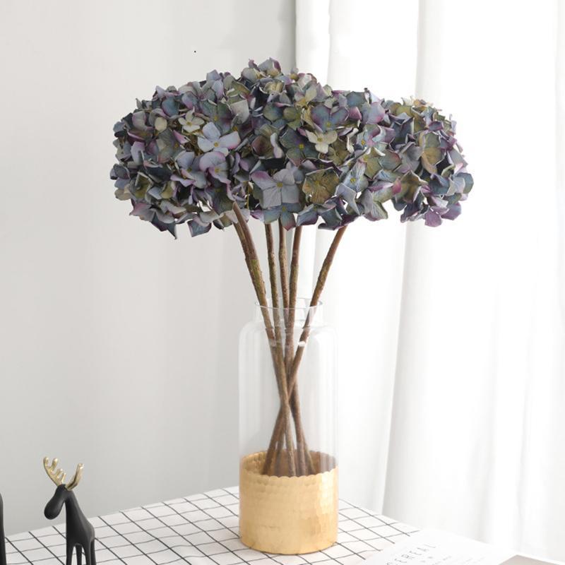1 pezzo artificiale Vintage Hydrangea testa di fiore casa di cerimonia nuziale Decorazione per feste artificiali Fiori secchi