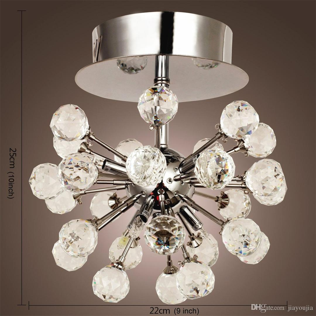 Modern 6 Lights Clear Crystal Mini Semi Flush Mounted Ceiling Lighting Lamp 110V