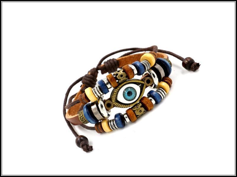 Hotting Trendy Vintage correa de cuero genuino cuentas pulseras hechas a mano ojos pulsera de cuero pulsera para hombres mujeres