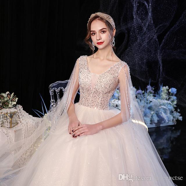 2020 Artı Boyutu Uzun Kollu Kristal Balo Gelinlik Sequins Büyük Gelin Sheer Bel Dantel Yukarı V Boyun Seksi Marraige Elbise Boncuklu