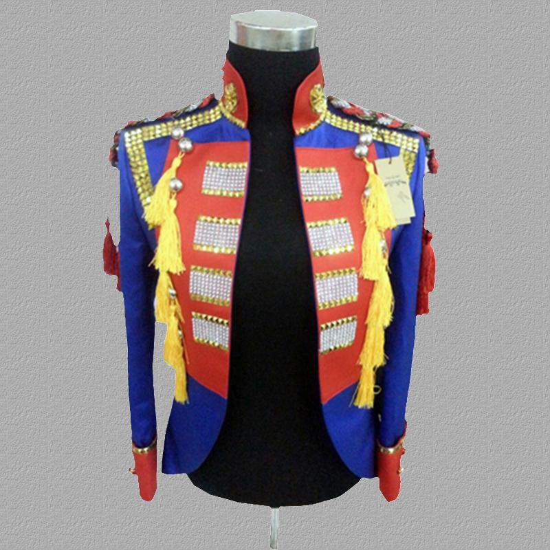 blue blazer men suits designs jacket mens stage costumes for singers clothes dance star style dress punk rock stand collar