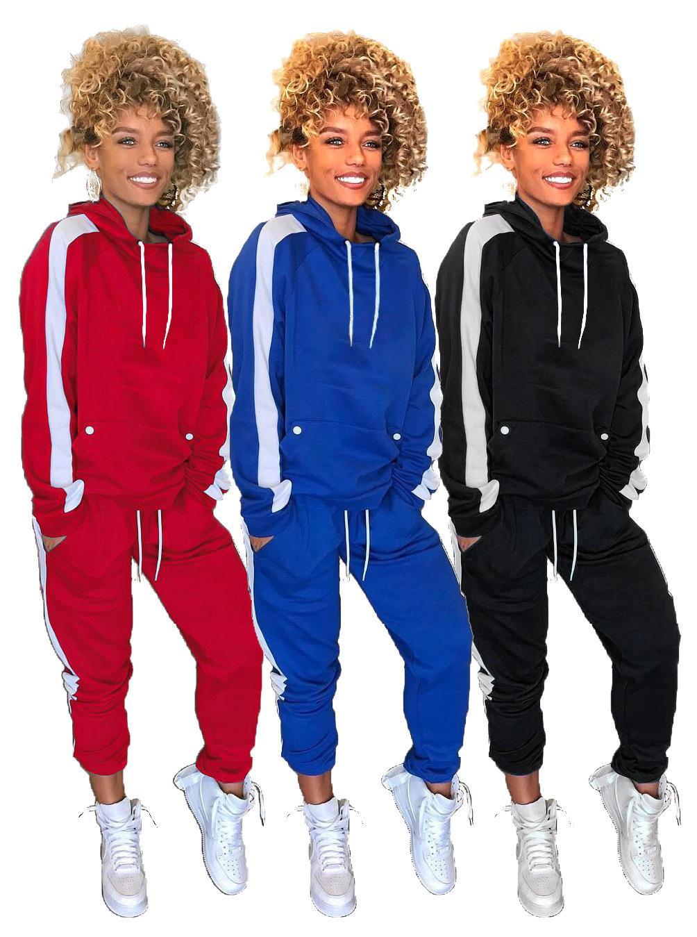 Moda kadın spor takım elbise sonbahar Avrupa ve iki parça bir takım Boyutu ile Amerikalı kadın moda trendi dikiş spor S-XL-2