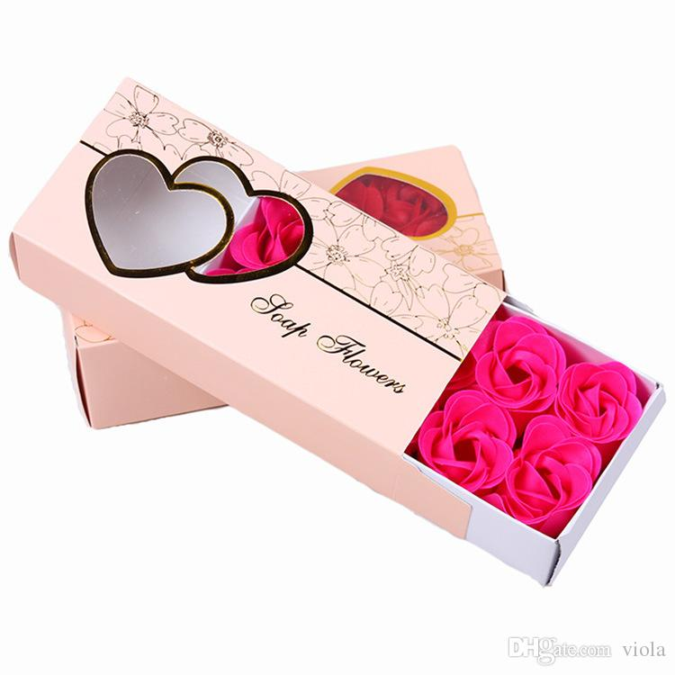 200sets Fashion DIY Soap Flower Lifelike Valentines Day Hand Made 10 Rose Soaps Flowers For Birthday Gift With Retail Box