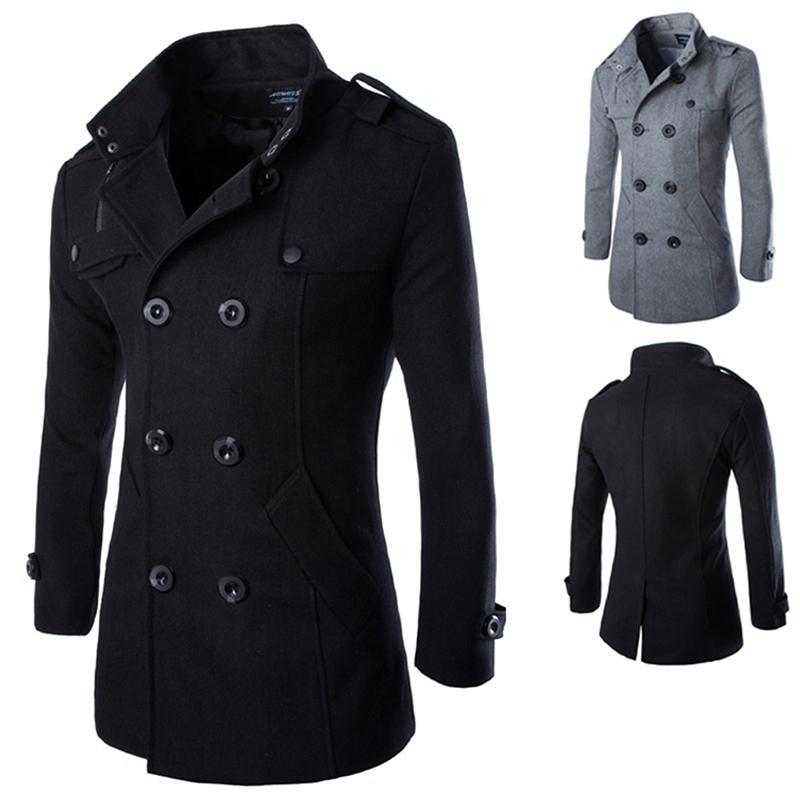 Autumn Long Wool Coat Fashion Men Turn-down Collar Wool Blend Double Breasted Pea Coat Jacket Men Overcoats Jacket