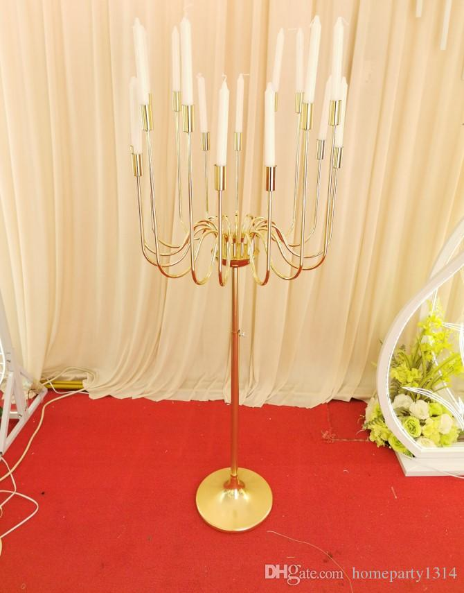 Metal tall candlestick 16 Arms Candle Holders Flowers Stands Wedding Table Centerpieces walkway Road Lead T stage props stage arrangement