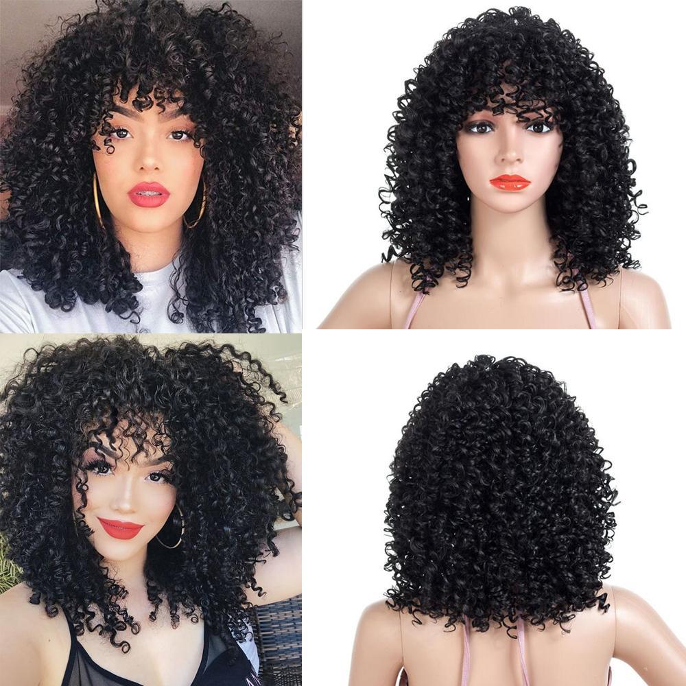 19 İnç Siyah Kıvırcık Peruk ile Bangs Yüksek Sıcaklık Elyaf Sentetik Saç Peruk İçin Amerikan Afrikalı Kadın 270g Kinky Kıvırcık Peruk Cosplay Günlük