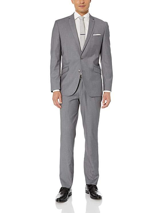 Grey Bespoke Wedding Suits For men Notched Collar Slim Fit 2 Pieces (Jacket with Pants) Wedding Groom Prom Tuxedos Suits