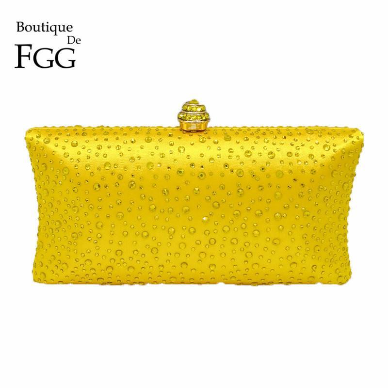 Sparkling Yellow Crystal Evening Clutches Women With Rhinestones Bridal Purses Wedding Prom Box Clutch Bag Handbags Shoulder Bag Y19051702