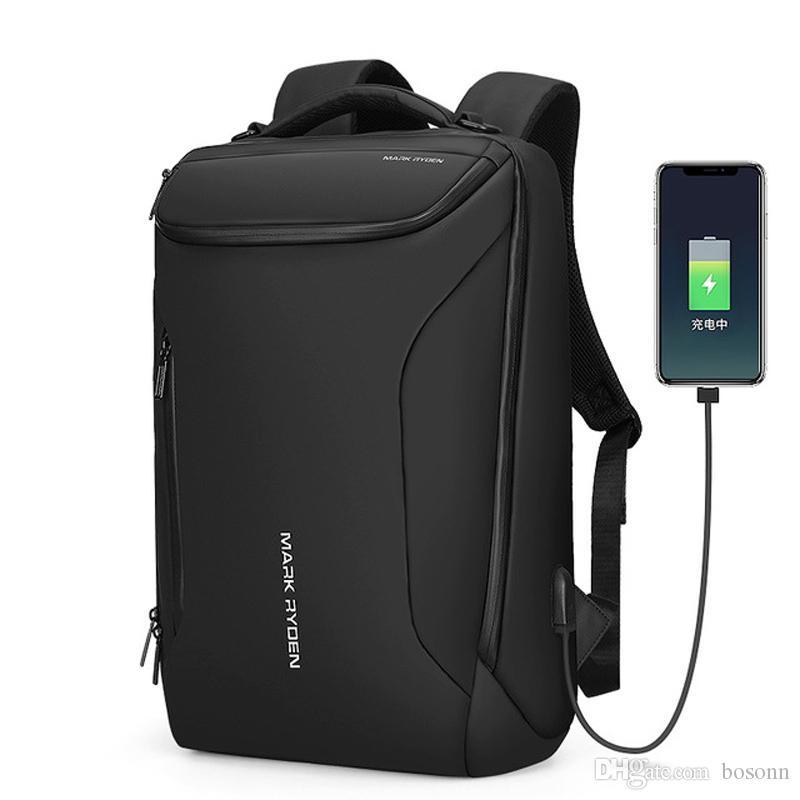 Водонепроницаемый рюкзак Markryden противоугонный рюкзак подходит для мужчин на 15,6-дюймовых для мужчин, современные бизнес-мешки Rucksack (черный)