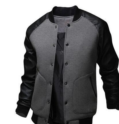 produit chaud acheter authentique meilleure collection Cool College Baseball Jacket Men Fashion Design Black Pu Leather Sleeve  Mens Slim Fit Varsity Jacket Veste Homme Denim Jacket Jackets For Men From  ...
