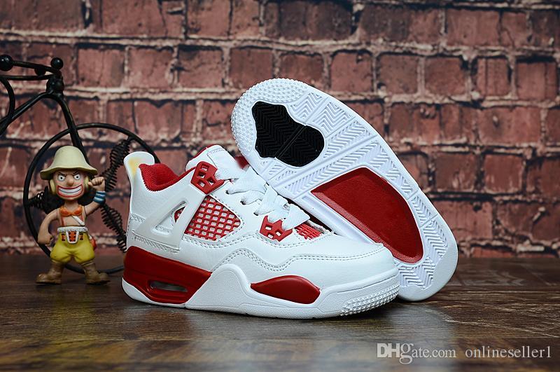 Élégant Enfants Garçons Filles Chaussures Sneakers 4 4s Noir Bleu Blanc Rose Rouge Chaussures de basket-ball coloré pour enfants Garçons Filles