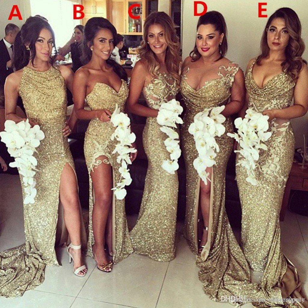 2020 Sparkly Gold Sequined Mermaid Bridesmaid Dresses Sexig Backless Split Plus Size Maid of The Honor Gowns Wedding Afton Dress