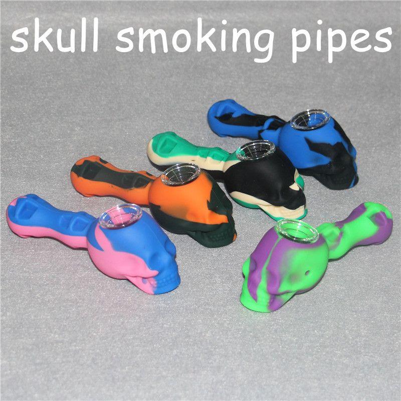 Silicone Oil Brûleur Pipe Pas Cher Coloré Silicone Cuillère Pipes Bubbler Pyrex Brûleur À L'huile Silicone Main Pipes Crâne Pipes À Tabac