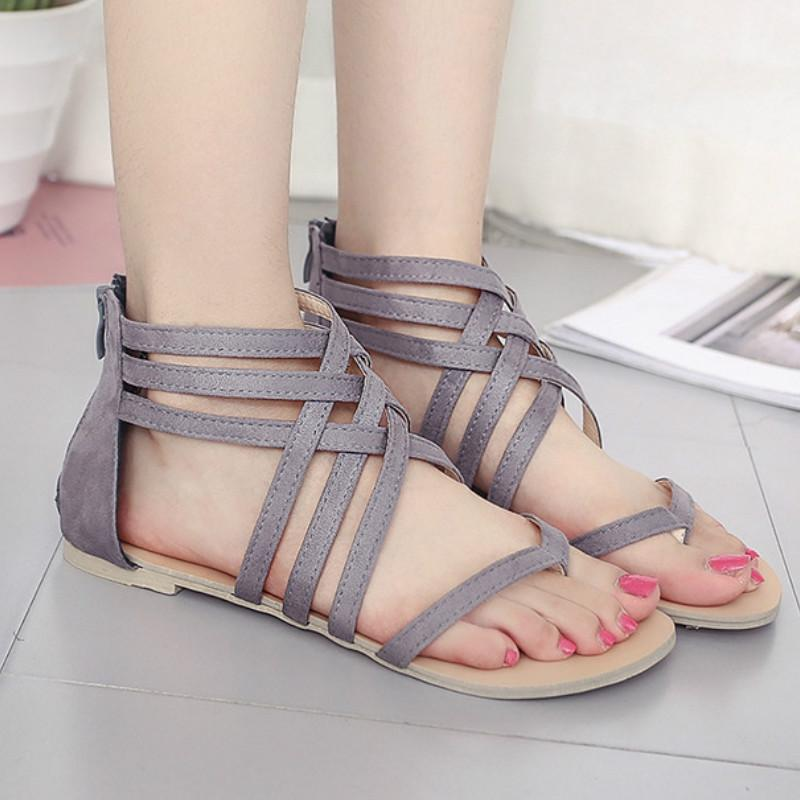 Summer Shoes Female Flat Sandals Rome Style Cross Tied Sandals Shoes Women Fashion Gladiator For Women 43