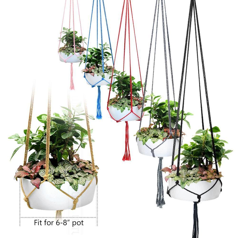 Handgemachte Macrame Pflanze Kleiderbügel Indoor Outdoor Blume hängenden Korb Baumwolseil 4 Beine Balkon Pot Hanger-Raum-Dekor