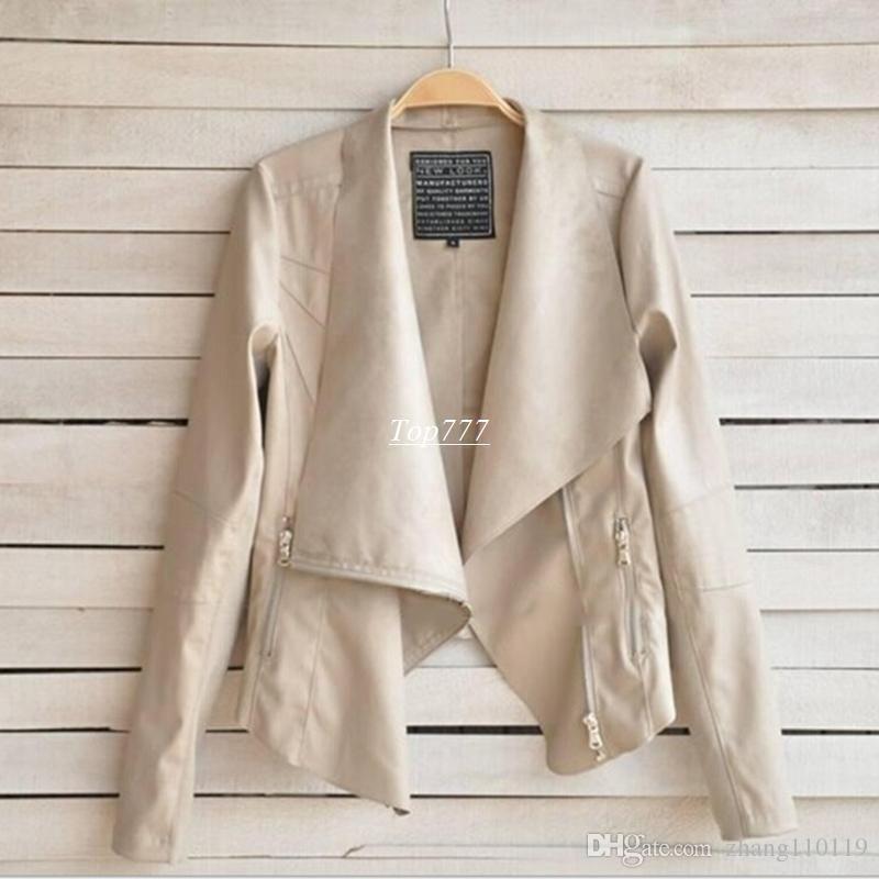 Mode 2018 PU Lederjacke Frauen Kleidung Faux Turn-Down Collor Weibliche Jacken Frauen Schlanke Mäntel Plus Größe Feminino Mujer Oberbekleidung