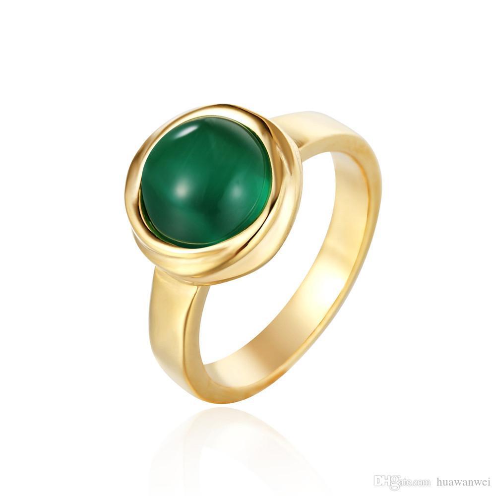 Big Chrysobery cat eye rings anello in acciaio al titanio color oro vintage anello in pietra verde titanio anello da uomo in acciaio gioielli anello da colata spedizione gratuita