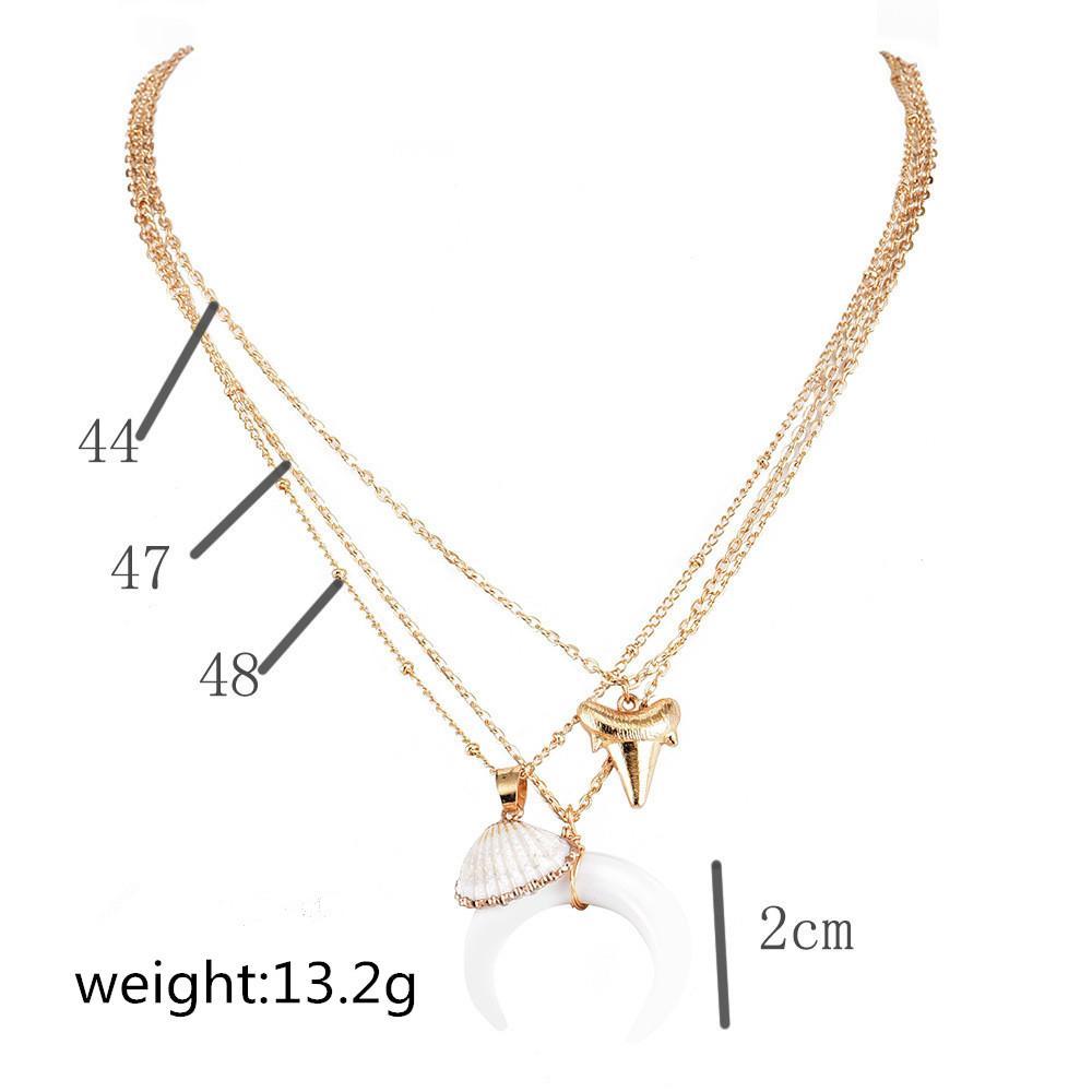ALYXUY бохо многослойных золотой цвет Луны раковины бык глава подвеска ожерелье женщины мода океан морской ракушки Beach ювелирных изделий подарок