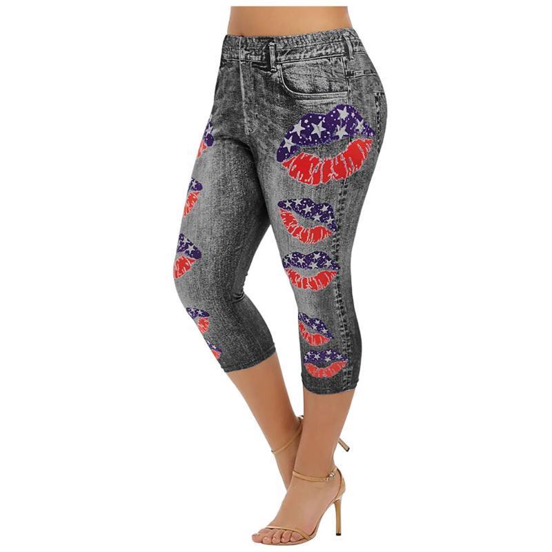 Женские брюки Каприз напечатаны ложные джинсовые короткие леггинсы 3 \ 4 женские джинсы высокие талии бриджи капри Супер эластичные джеггинсы плюс размер