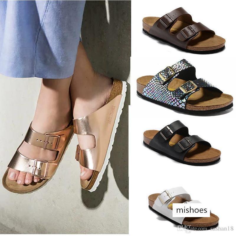 Arizona 2019 New Summer Beach Cork Slipper Tongs Sandales femme couleurs mélangées Slides Casual Shoes Expédition gratuite Flat 34-46