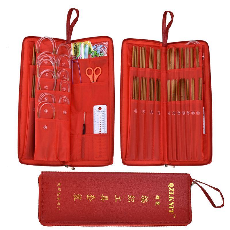 Gancho de acero rojo del caso 133pcs agujas de tejer conjunto con bambú inoxidable agujas de tejer circular + + agujas de ganchillo para el bricolaje de costura