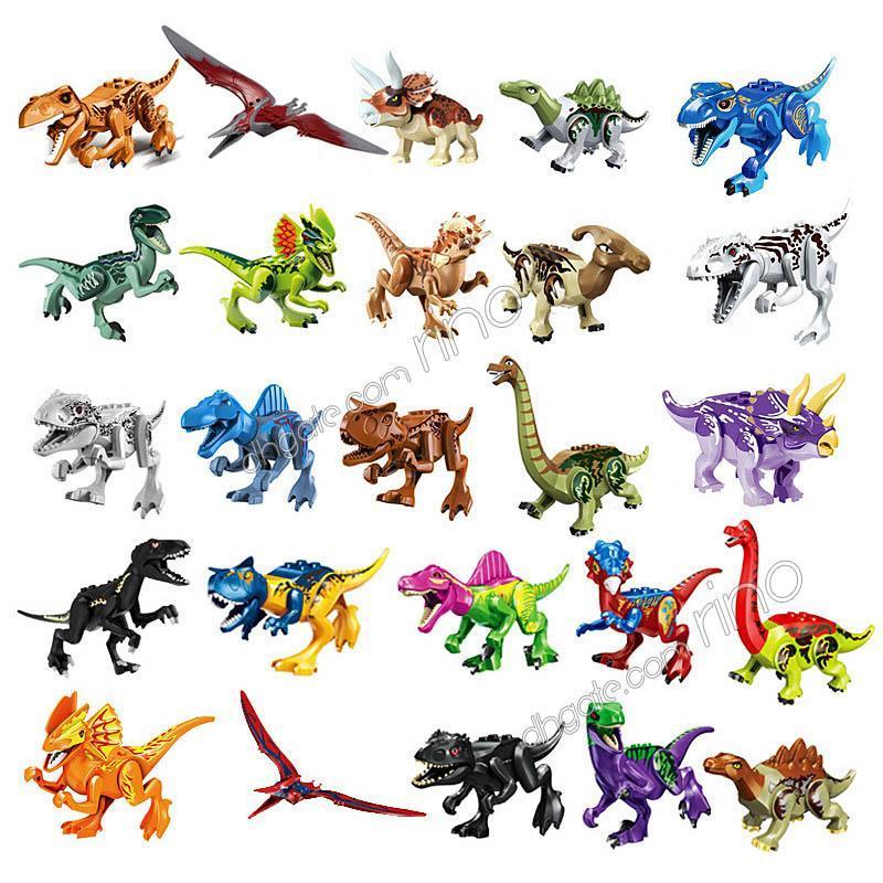 Blocs de construction dinosaures Jouets 47 Styles Enfants Puzzle Toy Assemblée Petit bloc de particules de construction Jouet Opp Sac