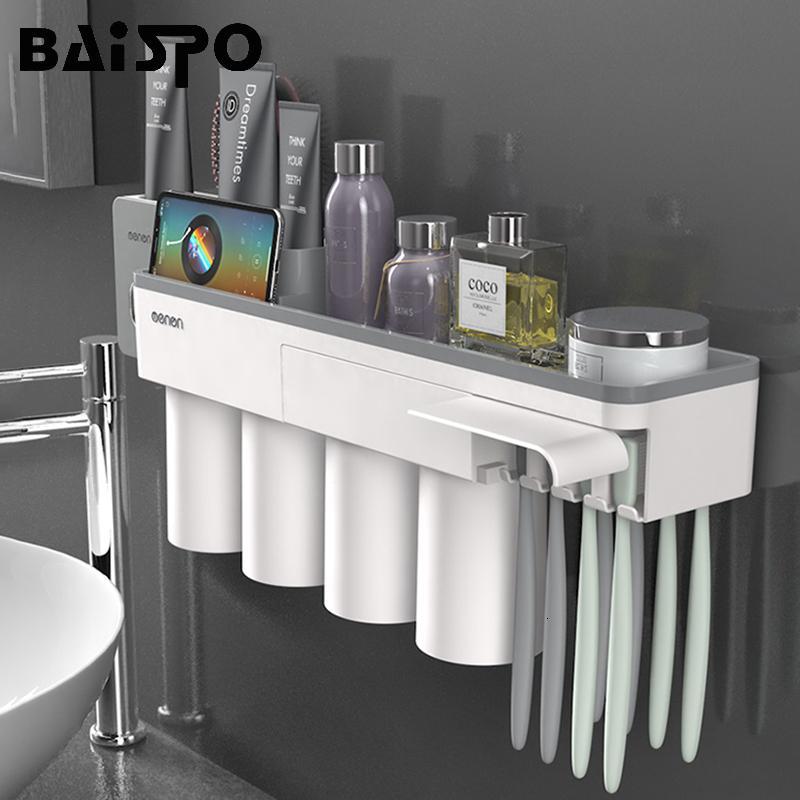 BAISPO Nuovo Portaspazzolino adsorbimento magnetico con 4 tazze muro del bagno montato rack di stoccaggio caso accessori per il bagno Set SH190919
